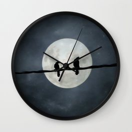 Two Crows In The Light Of A Silvery Moon Wall Clock