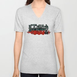 Locomotive Train Railroad Railway Steam Vintage Unisex V-Neck