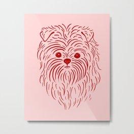 Affenpinscher (Pink and Red) Metal Print