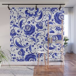 Ornament blue Gzhel Wall Mural