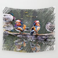 ducks Wall Tapestries featuring Drawn Mandarin Ducks by MehrFarbeimLeben