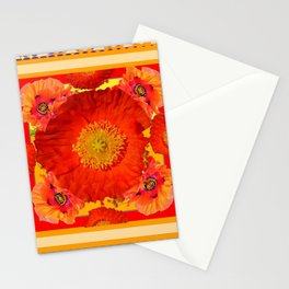 ORNATE YELLOW-RED POPPIES GARDEN  YELLOW ART Stationery Cards