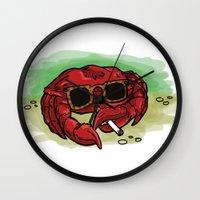 cigarette Wall Clocks featuring Cigarette Crab by Victoria Morris