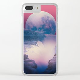red sky with moon, Iceland Clear iPhone Case