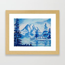 Winter Mt. Rainier Framed Art Print