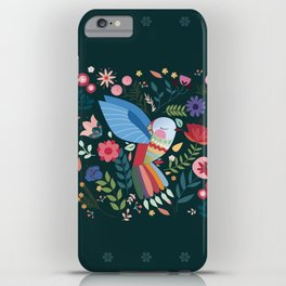 Folk Art Inspired Hummingbird With A Flurry Of Flowers iPhone Case