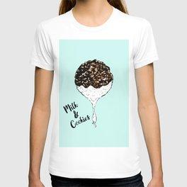 Cute Hand Drawn Foodie Cookies and Milk T-shirt