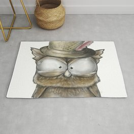I'll show you a Hoot! - Angry Owl Illustration - Kawaii Rug