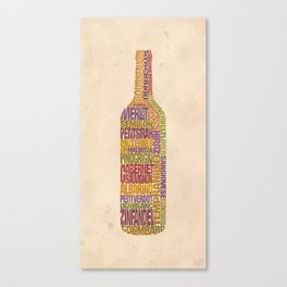 Bordeaux Wine Word Bottle Canvas Print