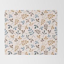 Assorted Leaf Silhouettes Ptn Blues Brwn Gld Crm Throw Blanket