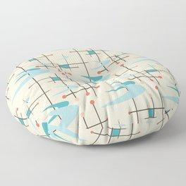 Mid Century Modern Boomerangs, blues on cream Floor Pillow