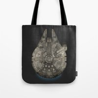 millenium falcon Tote Bags featuring Millennium Falcon by Eric Dufresne