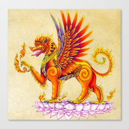 Singha Winged Lion Temple Guardian Canvas Print