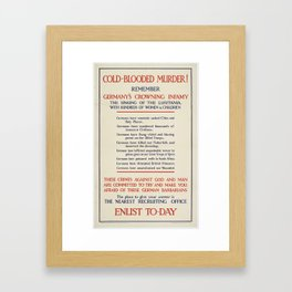 Poster, 'Cold-Blooded Murder!', 1915, United Kingdom, by Parliamentary Recruiting Committee Framed Art Print