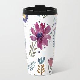 Watercolor Flowers White Travel Mug