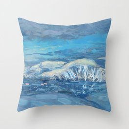 Khibiny Mountains, Winter Landscape Painting Modern Impressionism Throw Pillow