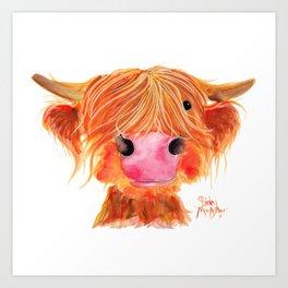Scottish Highland Cow ' ORANGE ' by Shirley MacArthur Art Print