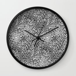 Black And White Small Line Intensive Shape Chic Seamless Pattern Wall Clock
