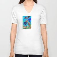 theatre V-neck T-shirts featuring The Dragon Theatre by Kookyphotography