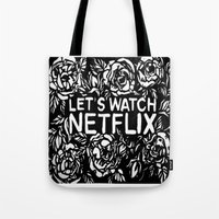 netflix Tote Bags featuring Lets watch netflix by cargline