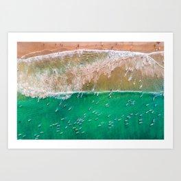 Surfers Paddling Out Art Print