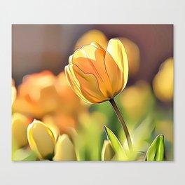 Yellow Tulips Airbrush Artwork Canvas Print
