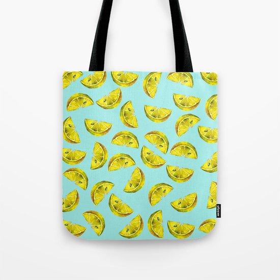 Lemon Slices Pattern Turquoise Tote Bag