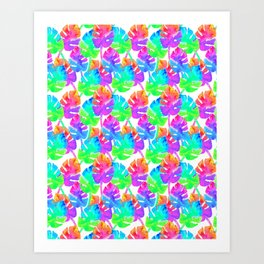 Watercolor Monstera Leaves in Neon Rainbow + White Art Print