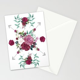 Floral Pattern with Arrows Stationery Cards