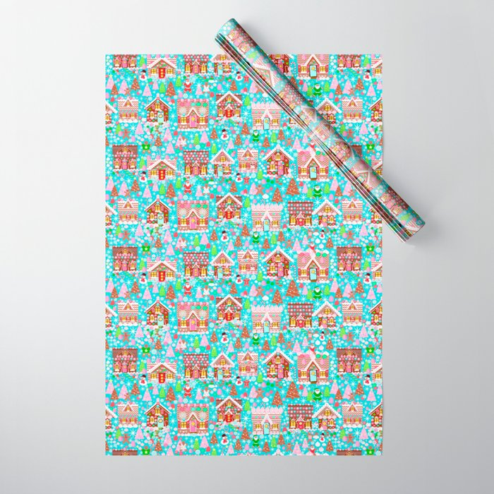 Includes 5 Sheets Pink Christmas Gift Wrap for Kids with Name and Gingerbread Houses Personalized Holiday Wrapping Paper
