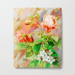 Pink Floral Painting (Color) Metal Print