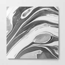 Black and White Ink Marbling 02 Metal Print