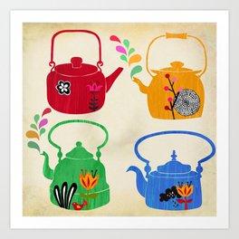 four vintage kettles Art Print