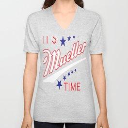 It's Mueller Time Funny Robert Mueller Trump Impeachment Investigation Design Unisex V-Neck