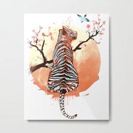 Tiger at sakura tree Metal Print