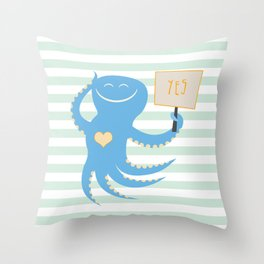 Squid of Yes Throw Pillow