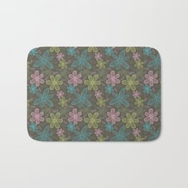 Lined flowers pattern Bath Mat