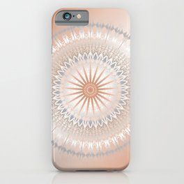Rose Gold Gray White Mandala iPhone Case