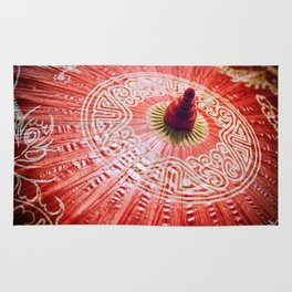 Red Silk Chinese umbrella Rug