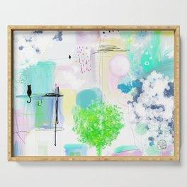 Peinture  tons pastels chat oiseau maisons arbre bulles Serving Tray