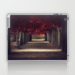 Red colors of autumn, surreal photo, red trees, alley in a park Laptop & iPad Skin