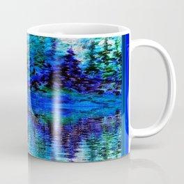 BLUE SCENIC MOUNTAIN PINES LAKE REFLECTION ART  PATTERNS Coffee Mug