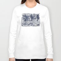 blueprint Long Sleeve T-shirts featuring Vigilante Blueprint by Matthew Dunn