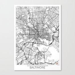 Baltimore Map White Canvas Print