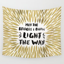 Bridges Burned – Gold Wall Tapestry