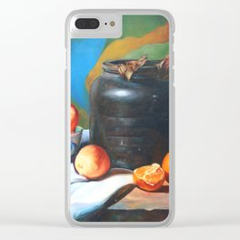 Still life with fruits and flag Clear iPhone Case