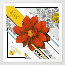 red flower collage Art Print