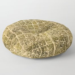 Mayan and aztec glyphs gold on vintage texture Floor Pillow
