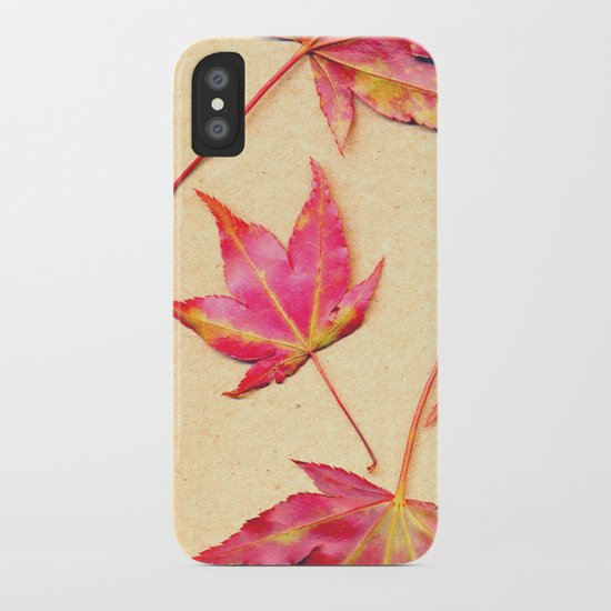 Japanese maple leaves - coral red on pale yellow iPhone Case