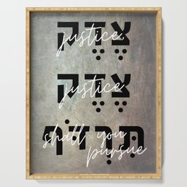 Justice You Shall Pursue - Hebrew Bible Verse Serving Tray